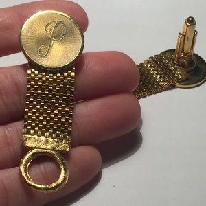 Vintage Accessories - VTG P Monogram Gold Tone Chain Cufflinks